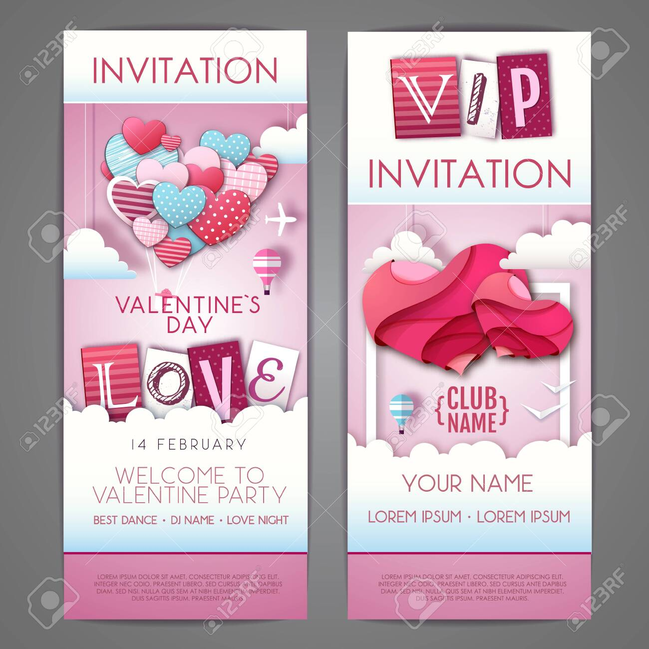 Happy Valentines day invitation design with love hearts in the sky. Cut out paper art style design - 136378870