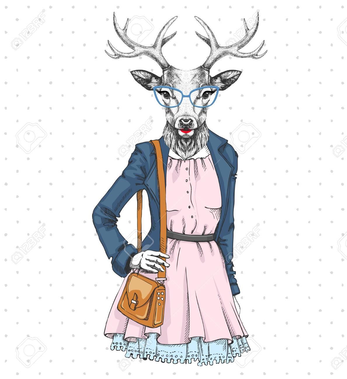 Retro Hipster fashion animal deer. Woman model - 137223014
