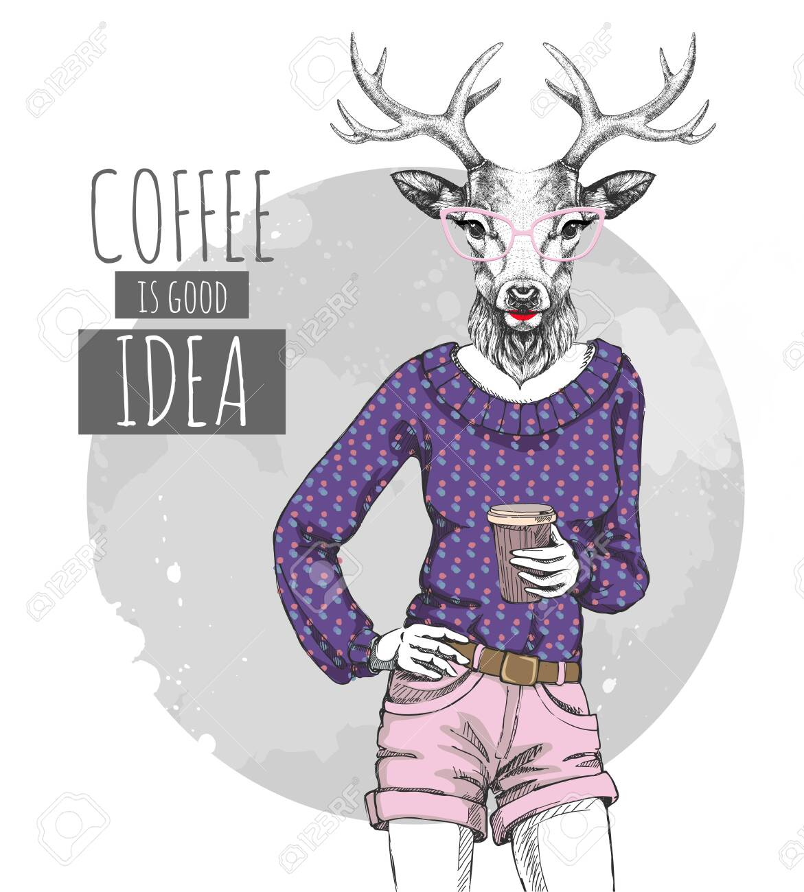 Retro Hipster fashion animal deer with coffee. Woman model - 137223016