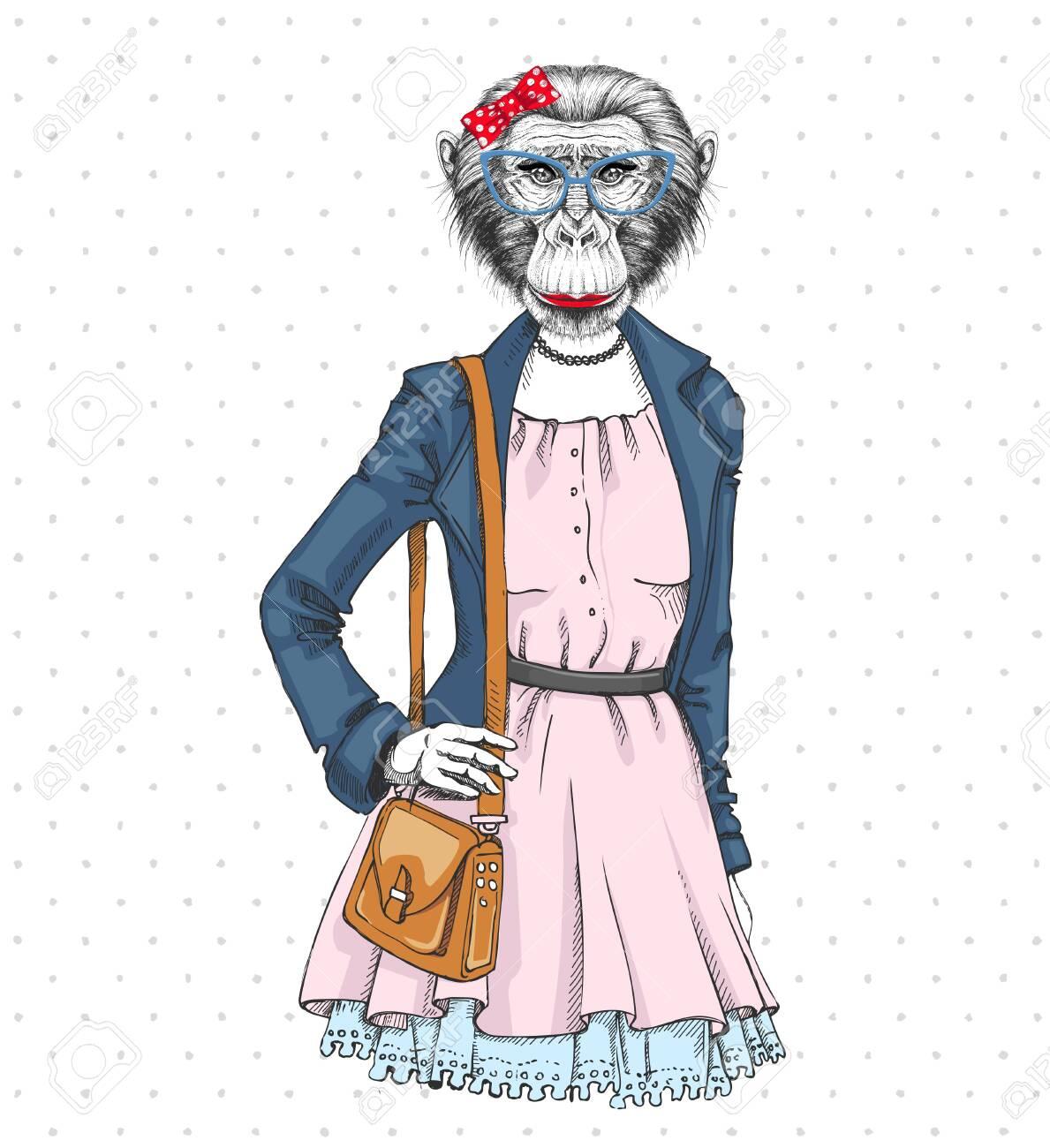 Retro Hipster fashion animal monkey. Woman model - 137223060
