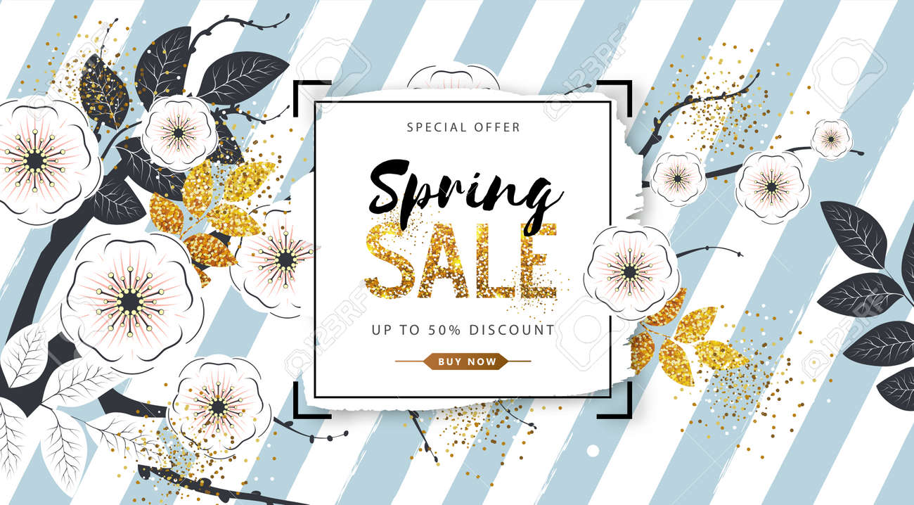 Spring sale poster with full blossom flowers and golden leaves. Spring flowers background - 139680897
