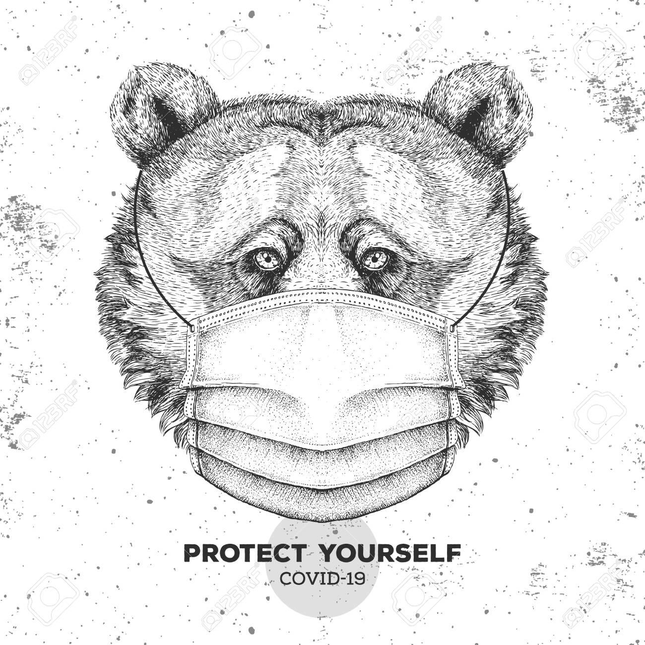 Hand drawing Animal bear wearing face medical mask. Covid-19 protection methods. Coronavirus Quarantine Warning. Vector illustration - 144246214