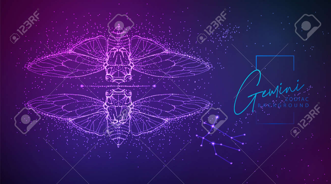 Neon modern fluid background with astrology Gemini zodiac sign. Vector illustration - 169211839