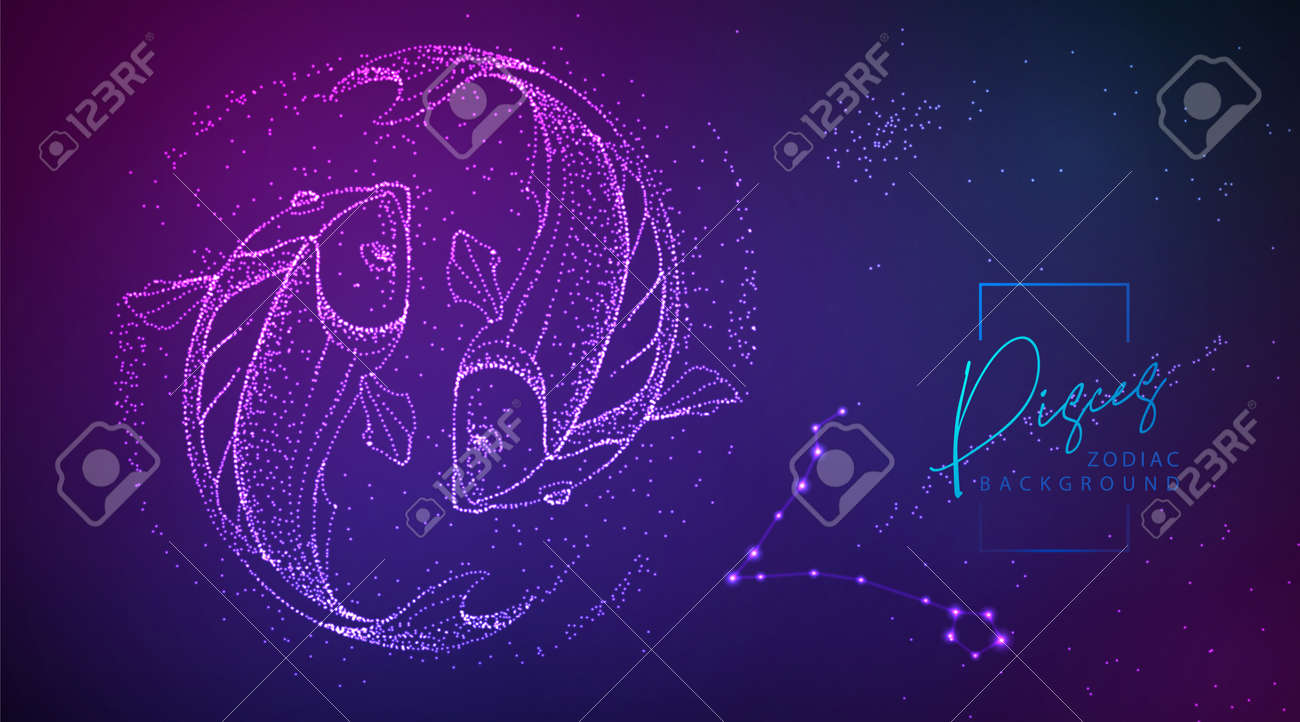 Neon modern fluid background with astrology Pisces zodiac sign. Vector illustration - 169211868