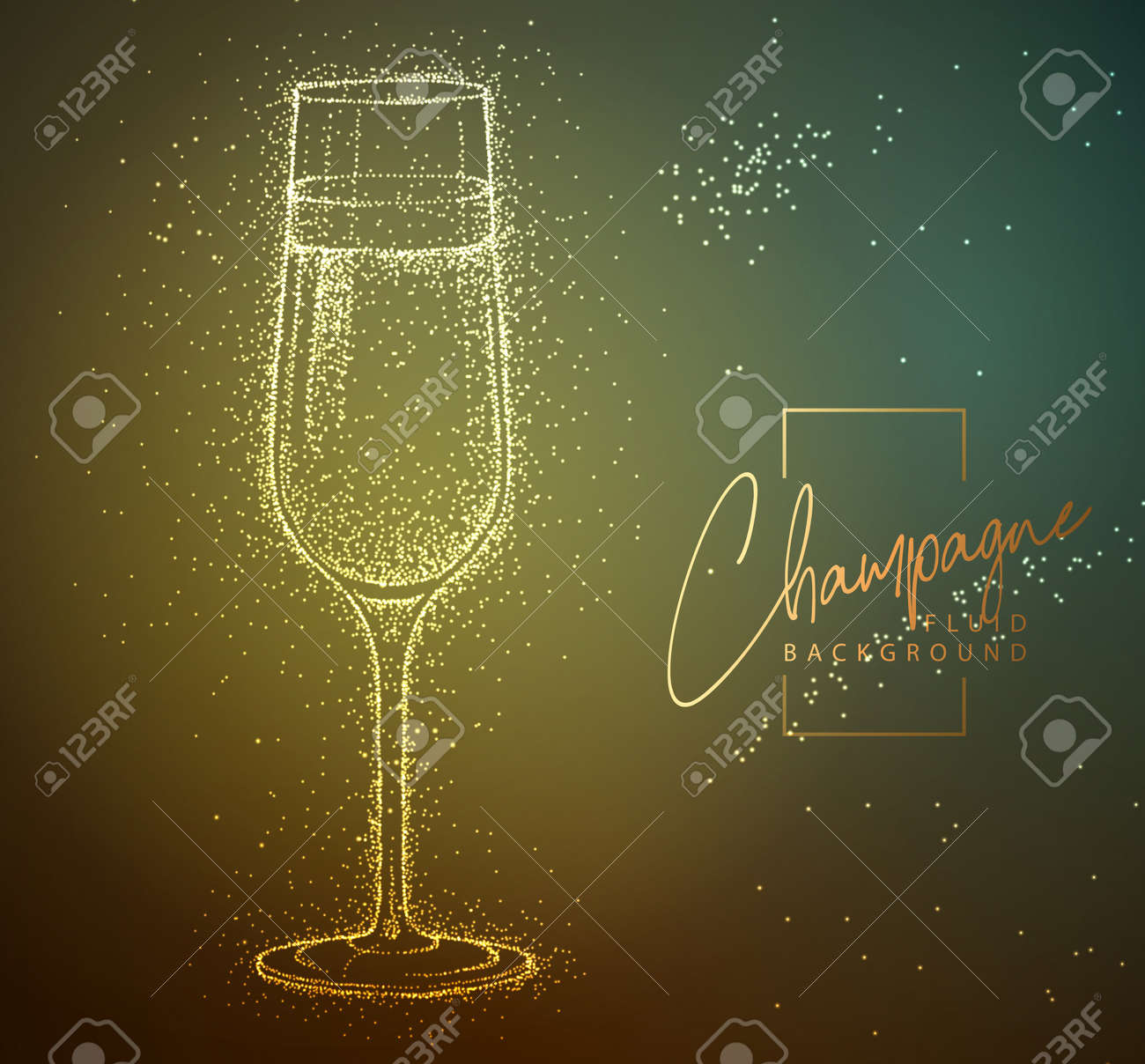 Neon fluid champagne glass vector illustration. Fluid background. - 169211874