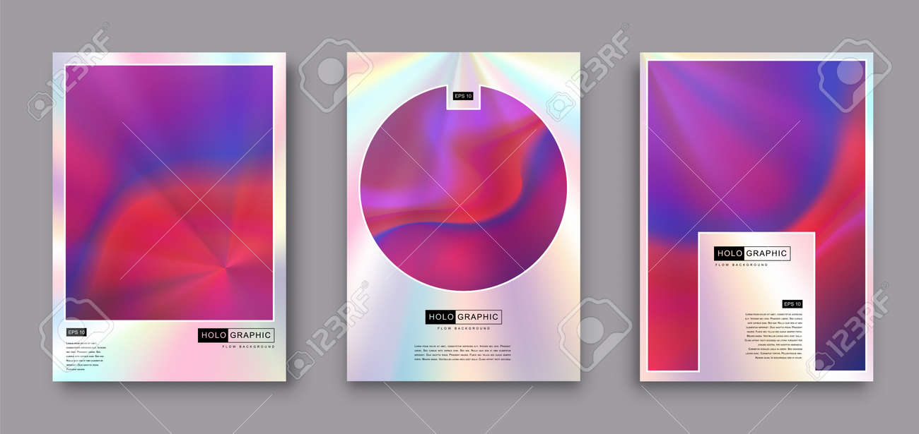 Set of Modern holographic pearl fllow abstract covers. Liquid vector illustration background - 169522122