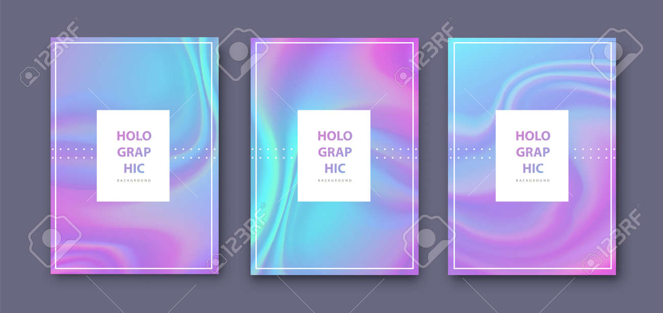 Set of Modern holographic pearl fllow abstract covers. Liquid vector illustration background - 169522130
