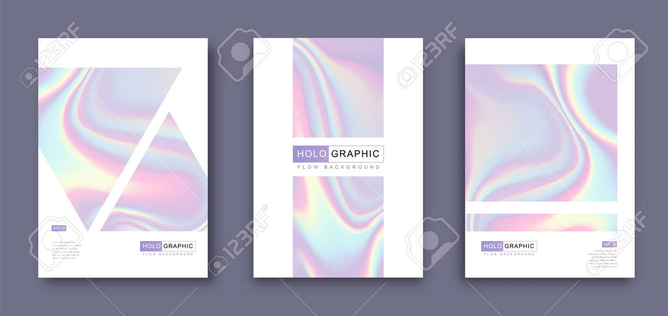 Set of Modern holographic pearl fllow abstract covers. Liquid vector illustration background - 169522175