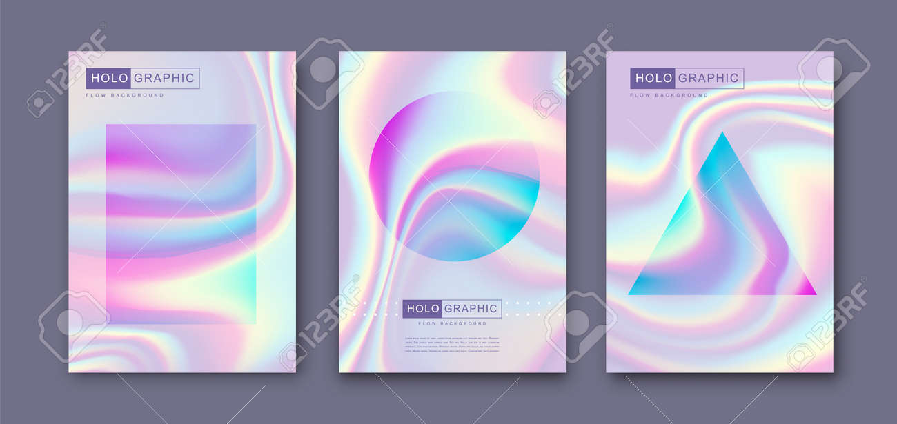 Set of Modern holographic pearl fllow abstract covers. Liquid vector illustration background - 169522173