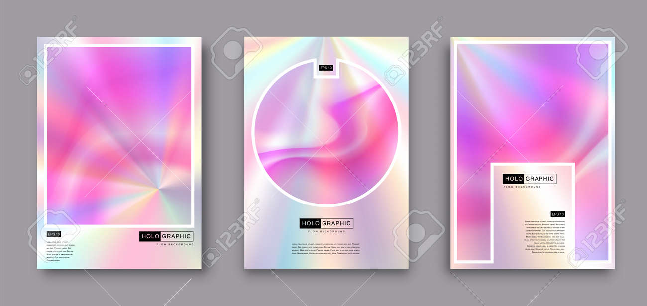Set of Modern holographic pearl fllow abstract covers. Liquid vector illustration background - 169522169