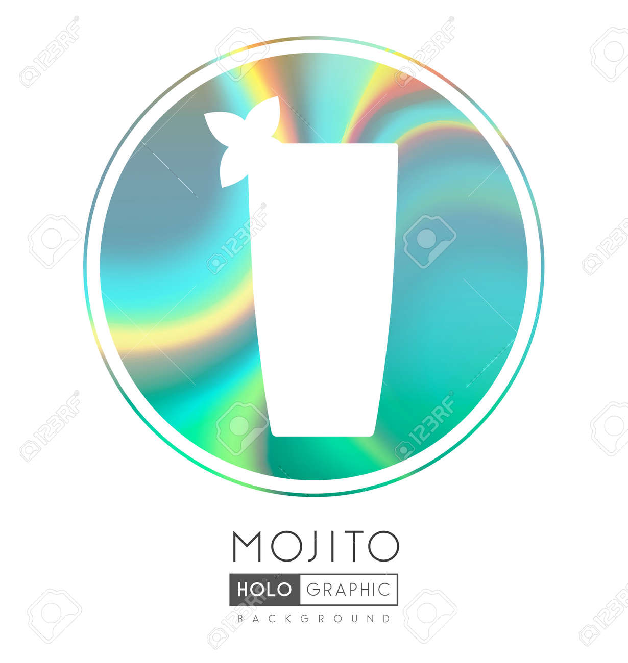 Cocktail silhouette on abstract holographic background. Mojito cocktail holographic icon - 169983520