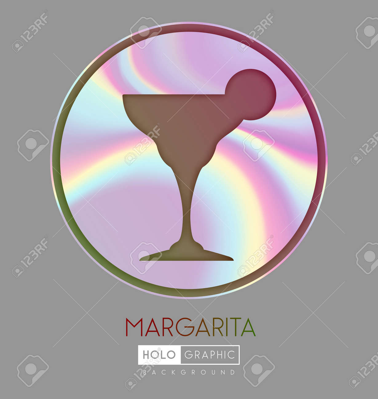 Cocktail silhouette on abstract holographic background. Margarita cocktail holographic icon - 169983521