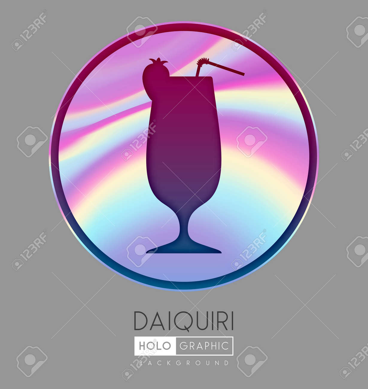 Cocktail silhouette on abstract holographic background. Daiquiri cocktail holographic icon - 169983527