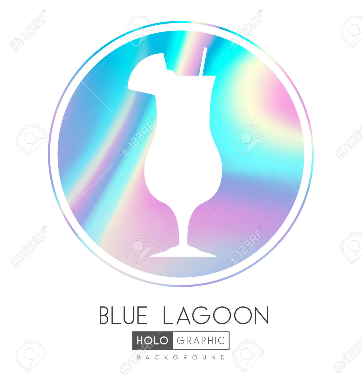 Cocktail silhouette on abstract holographic background. Blue lagoon cocktail holographic icon - 169983707
