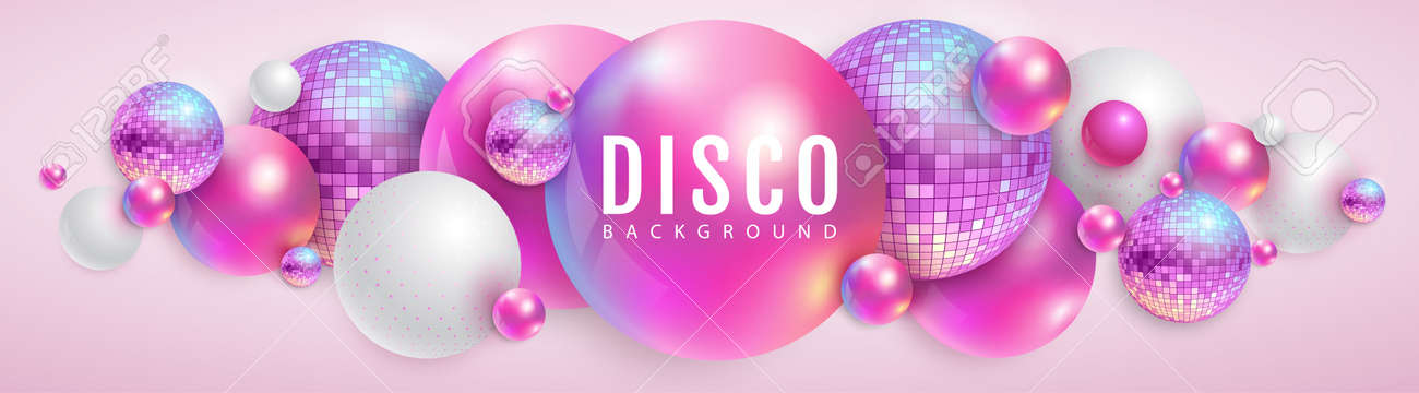 3D abstract background with holographic pink spheres and disco ball spheres. Disco ball background. Disco party poster. Vector illustration - 172076471