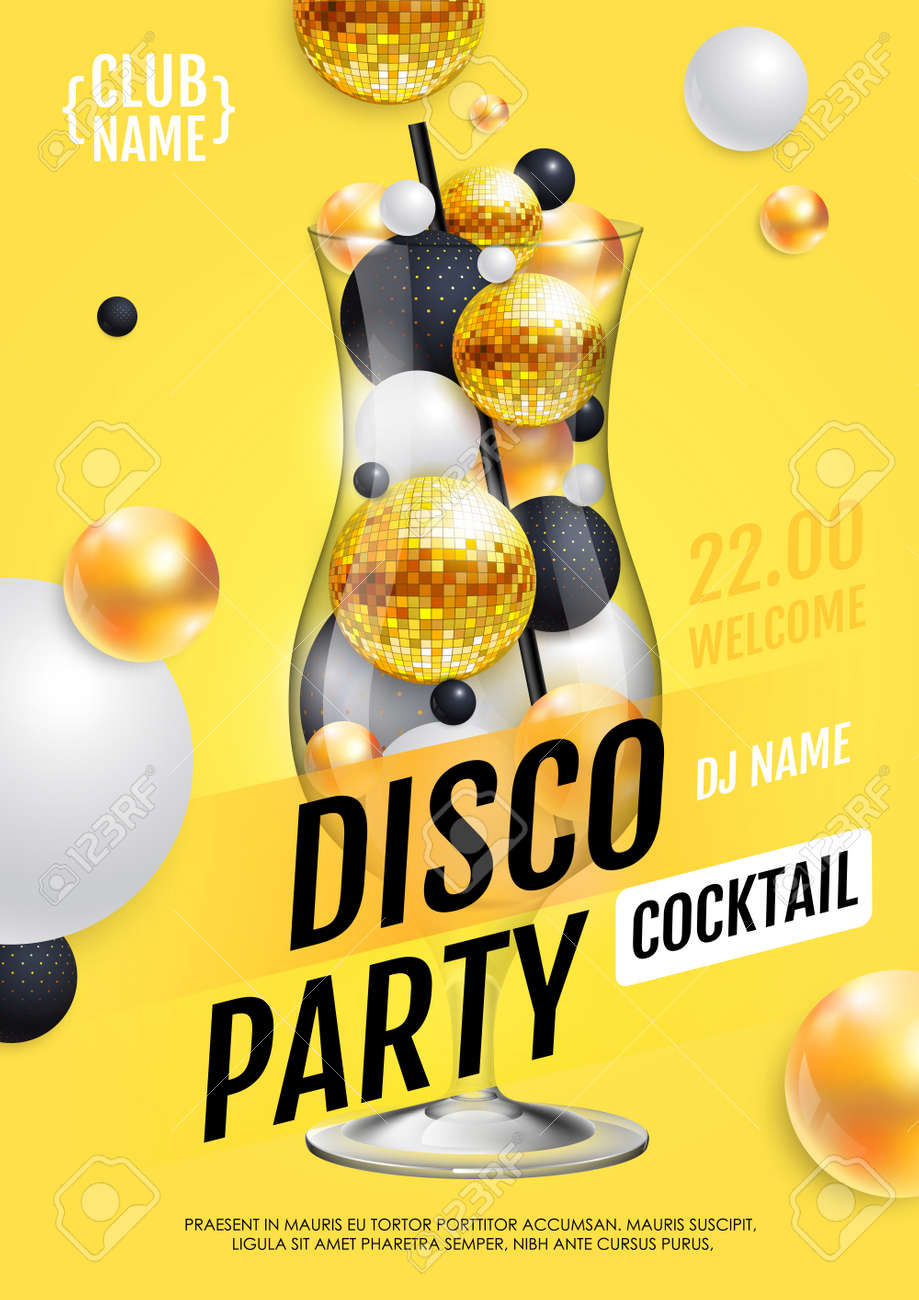 Cocktail disco party poster with 3d abstract spheres and golden disco ball. Vector illustration - 172370627
