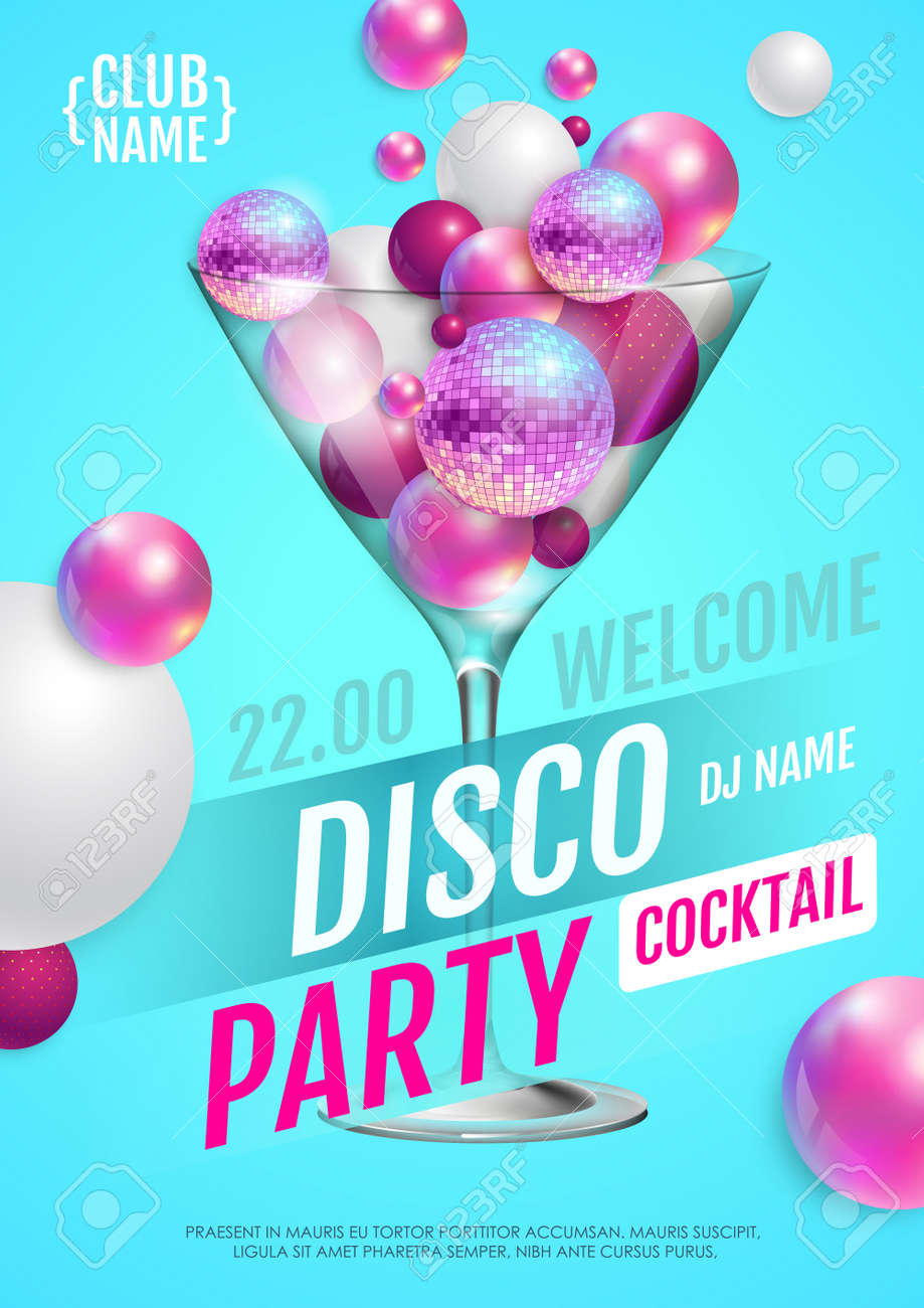 Cocktail disco party poster with 3d abstract spheres and pink disco ball. Vector illustration - 172370635