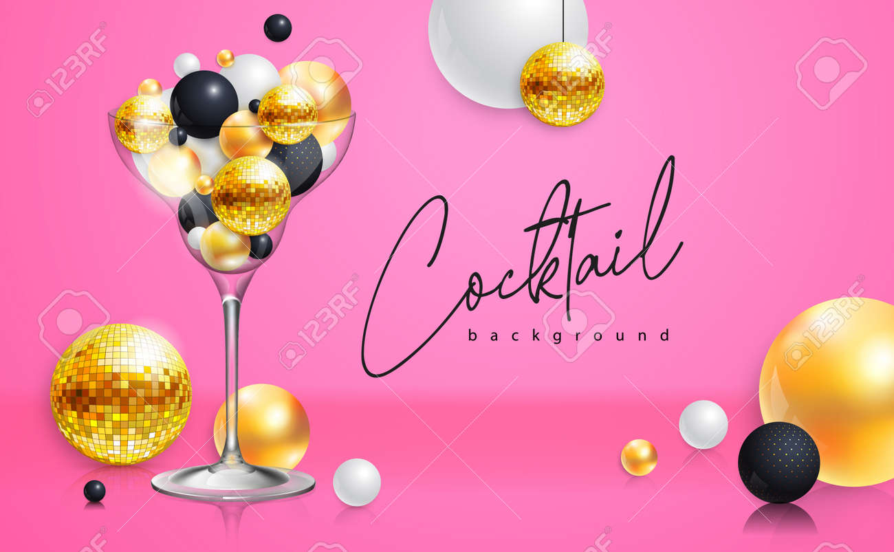 Cocktail disco party poster with 3d abstract spheres and golden disco ball. Cocktail background. Vector illustration - 172370660