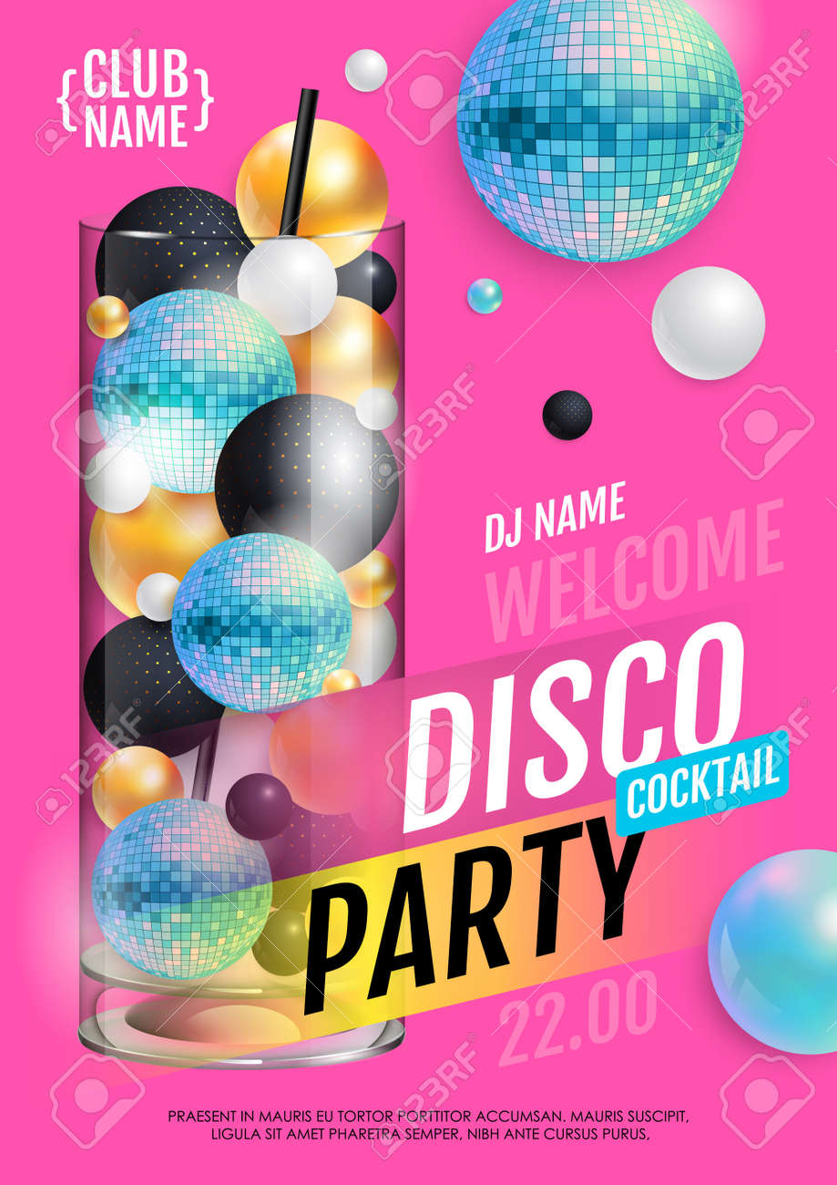 Cocktail disco party poster with 3d abstract spheres and blue disco ball. Vector illustration - 172370797