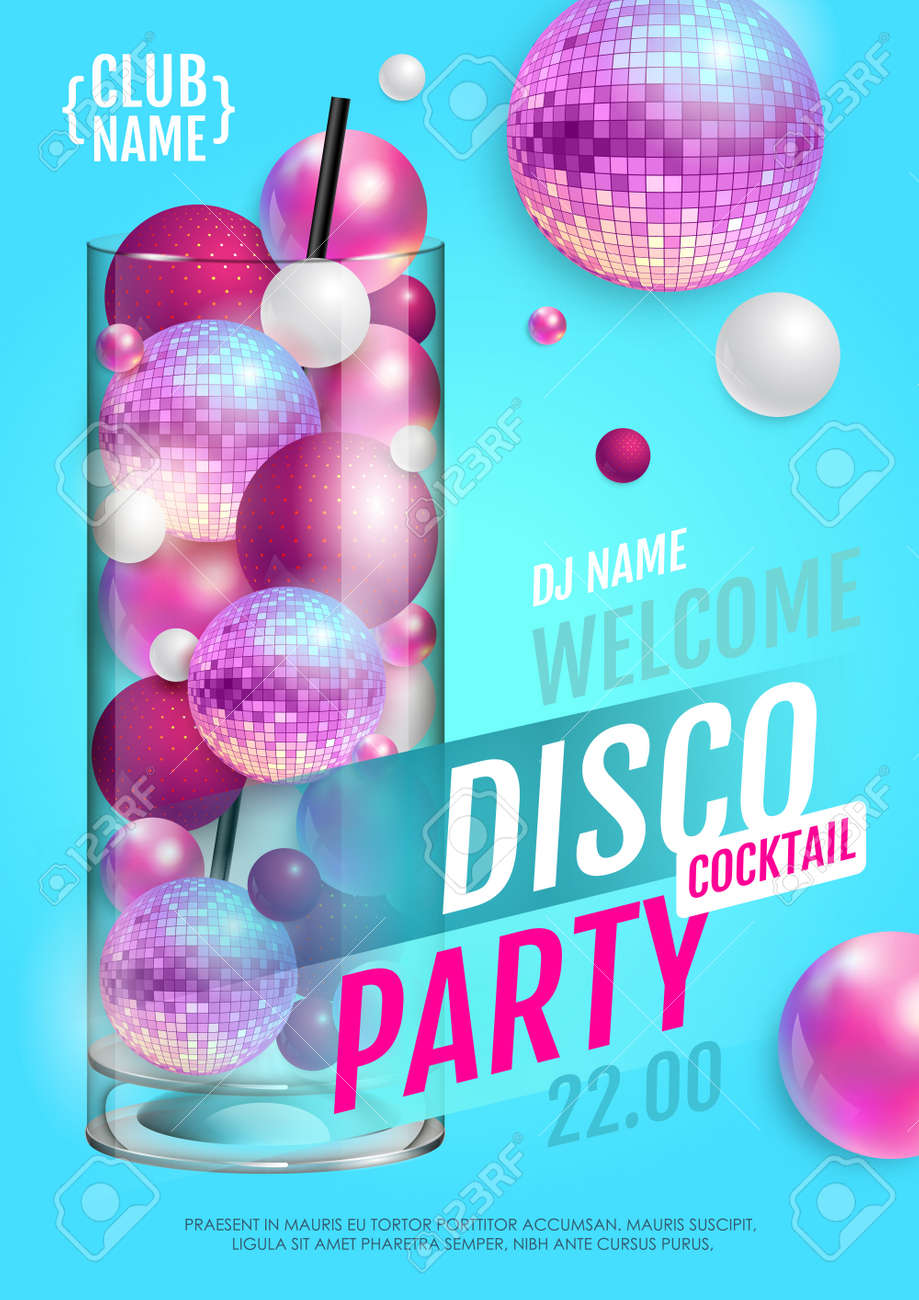 Cocktail disco party poster with 3d abstract spheres and pink disco ball. Vector illustration - 172370798
