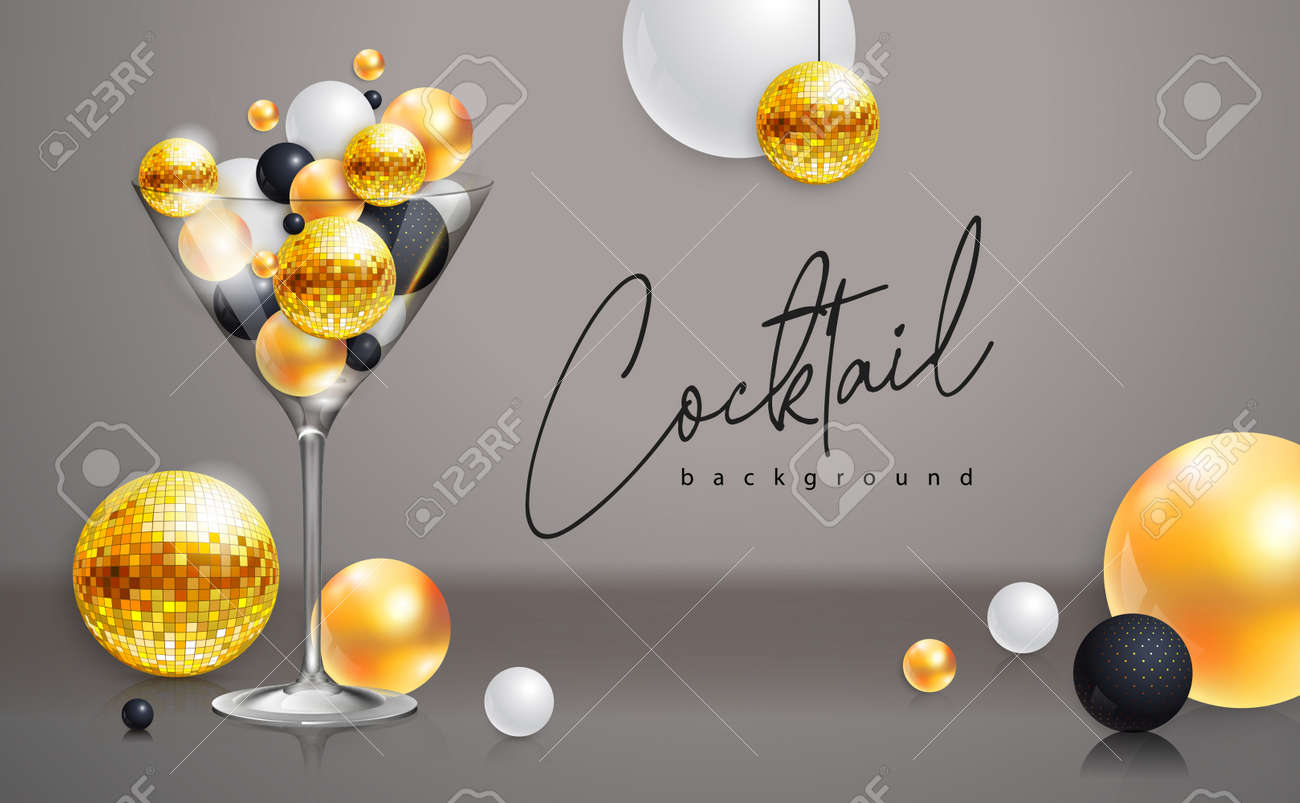 Cocktail disco party poster with 3d abstract spheres and golden disco ball. Cocktail background. Vector illustration - 172370689