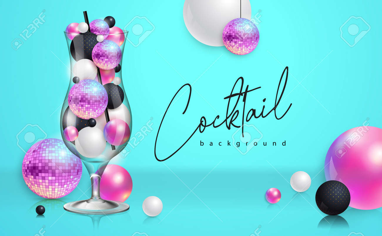 Cocktail disco party poster with 3d abstract spheres and pink disco ball. Cocktail background. Vector illustration - 172370690