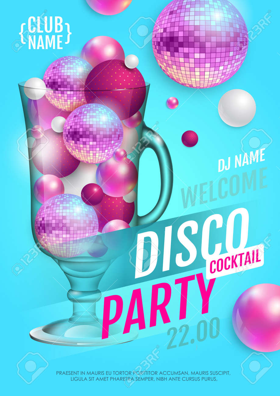 Cocktail disco party poster with 3d abstract spheres and pink disco ball. Vector illustration - 172370803