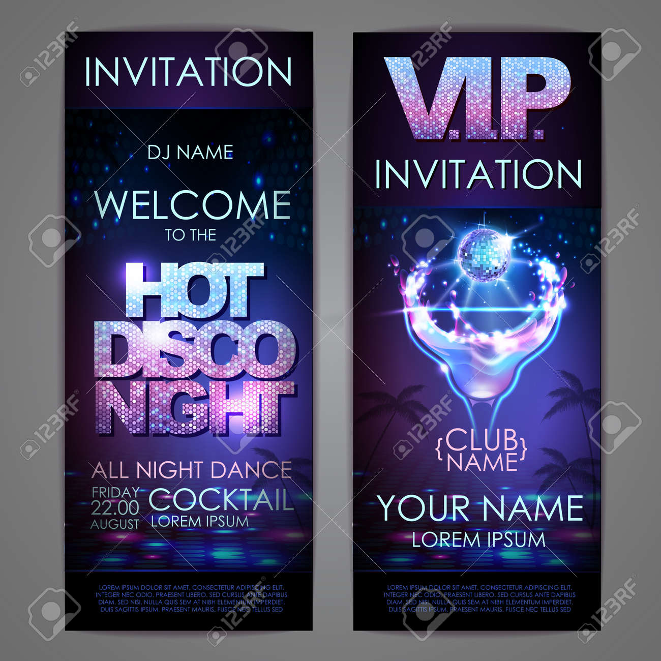 Set of disco background banners. Hot cocktail disco night poster - 172370811