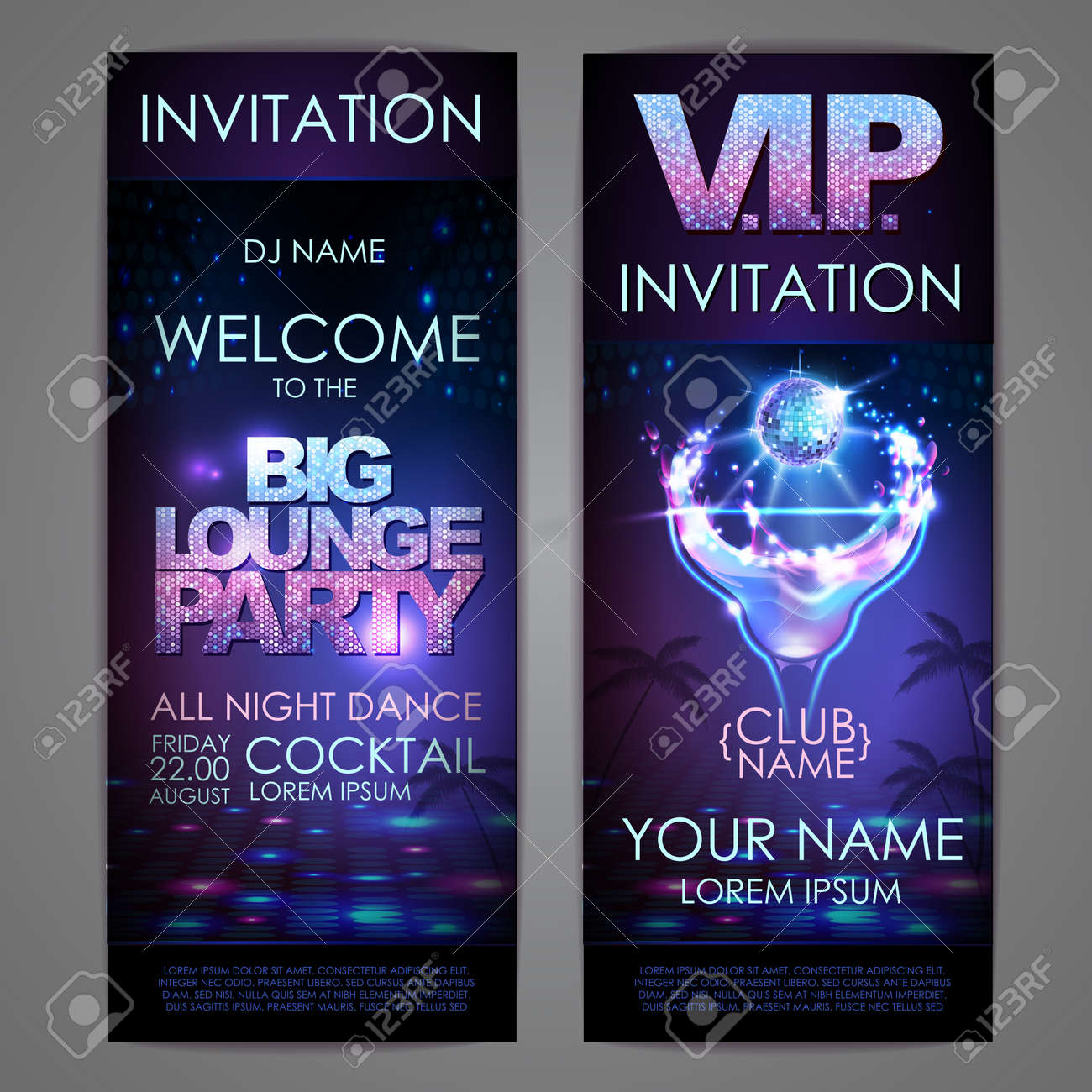 Set of disco background banners. Big lounge cocktail party poster - 172370721