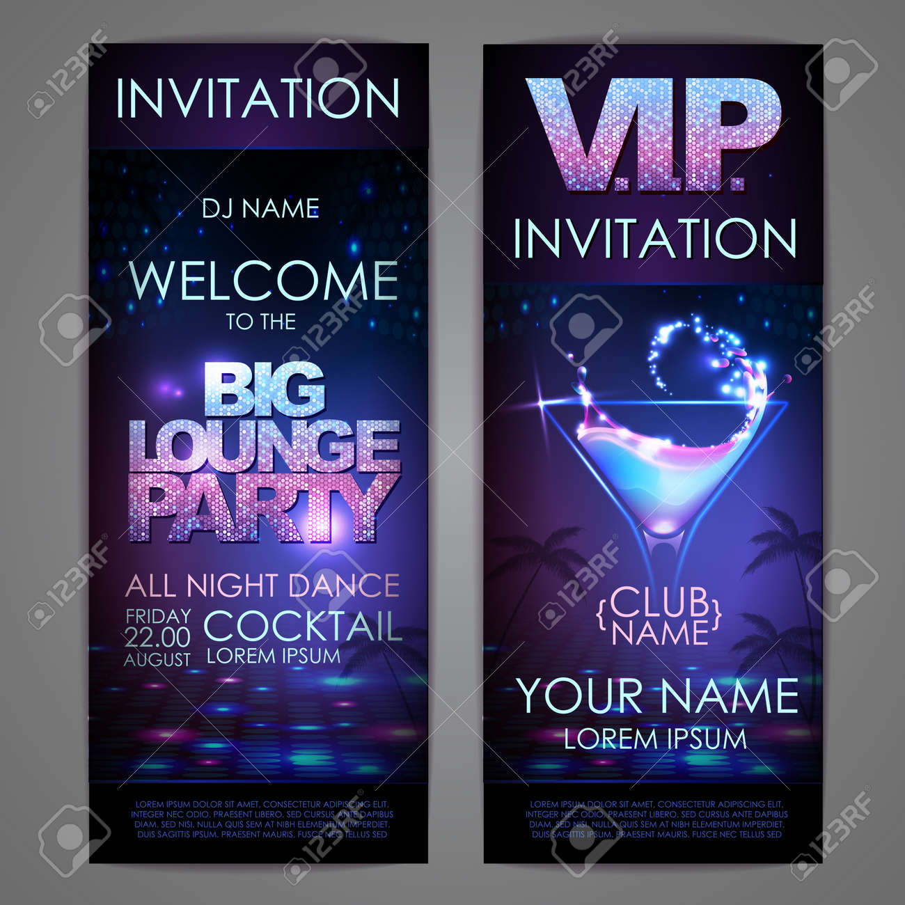 Set of disco background banners. Big lounge cocktail party poster - 172355939