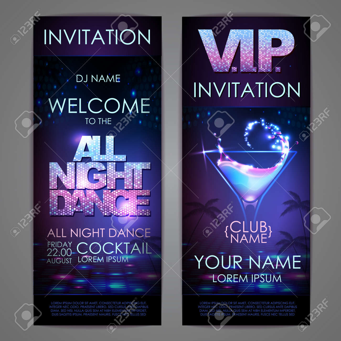 Set of disco background banners. All night dance cocktail poster - 172355850
