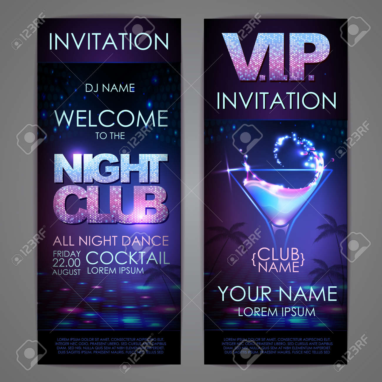 Set of disco background banners. Cocktail night club poster - 172355891