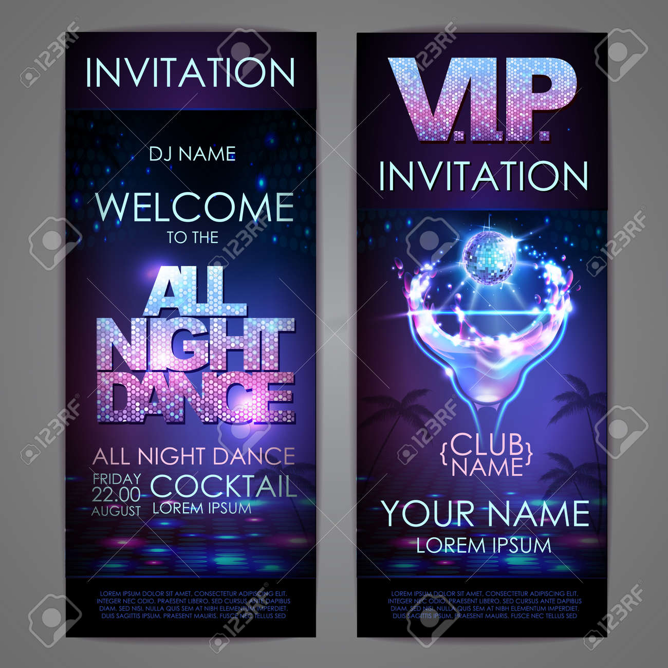 Set of disco background banners. All night dance cocktail poster - 172370722