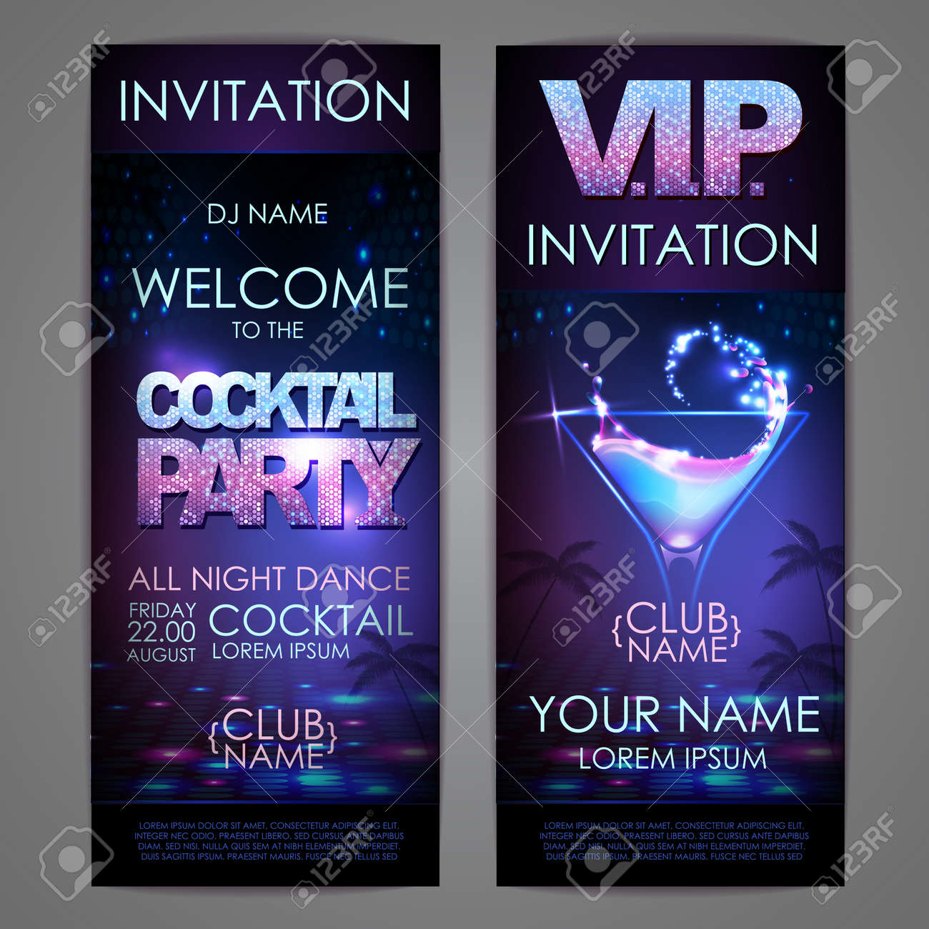 Set of disco background banners. Cocktail party poster - 172355854