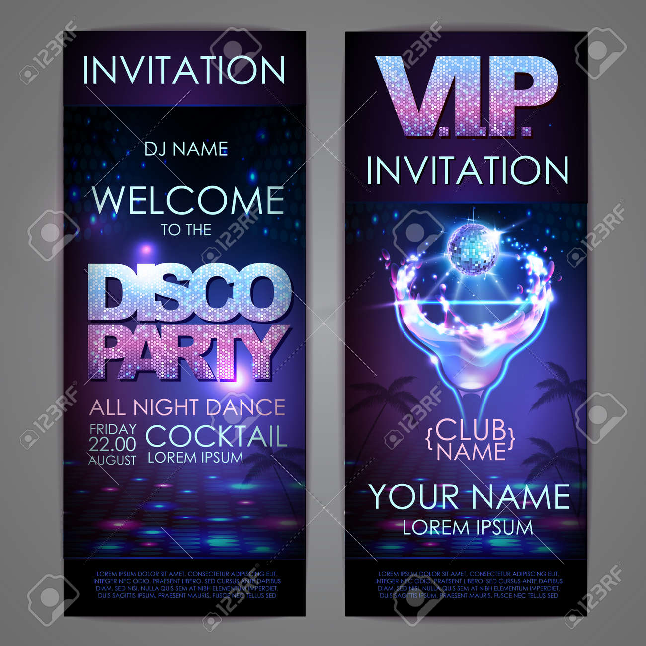 Set of disco background banners. Cocktail disco party poster - 172370725