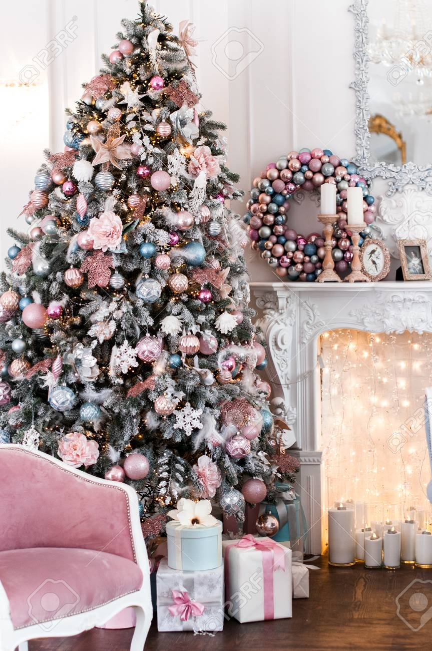 Christmas Interior In Pink And Blue Colors With A Christmas Tree Stock Photo Picture And Royalty Free Image Image 114552445