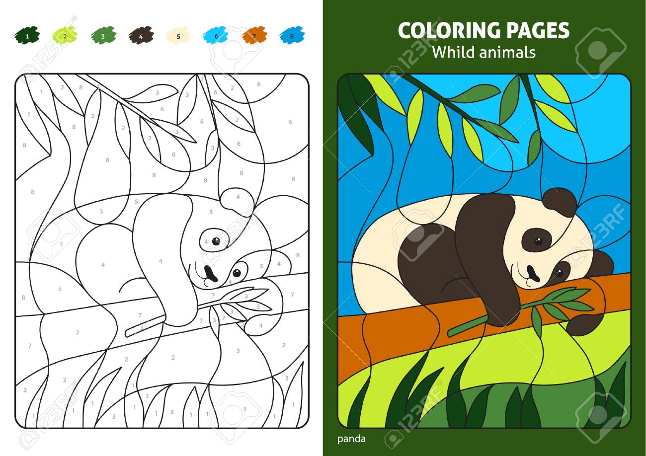Wild Animals Coloring Page For Kids Panda Bear Printable Design