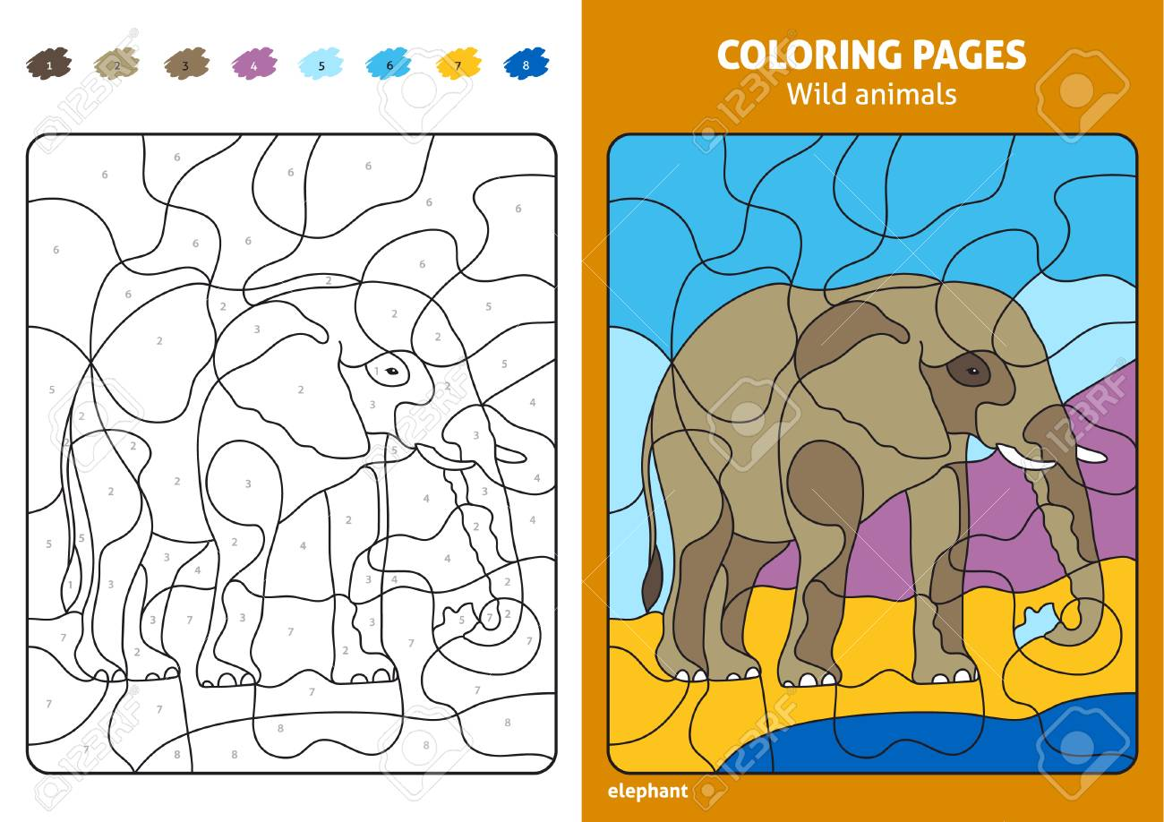 Wild Animals Coloring Page For Kids Elephant