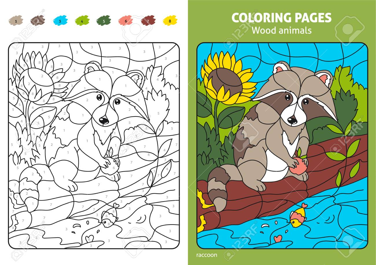 Wood Animals Coloring Page For Kids, Raccoon. Royalty Free Cliparts ...