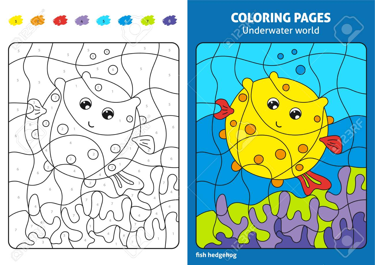 Underwater World Coloring Page For Kids Fish Printable Design Stock Photo Picture And Royalty Free Image Image 103244264