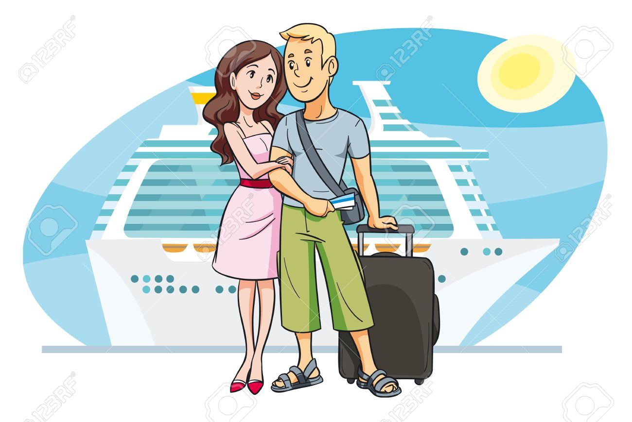 Young Couple Cartoon Vector - Young couple going on