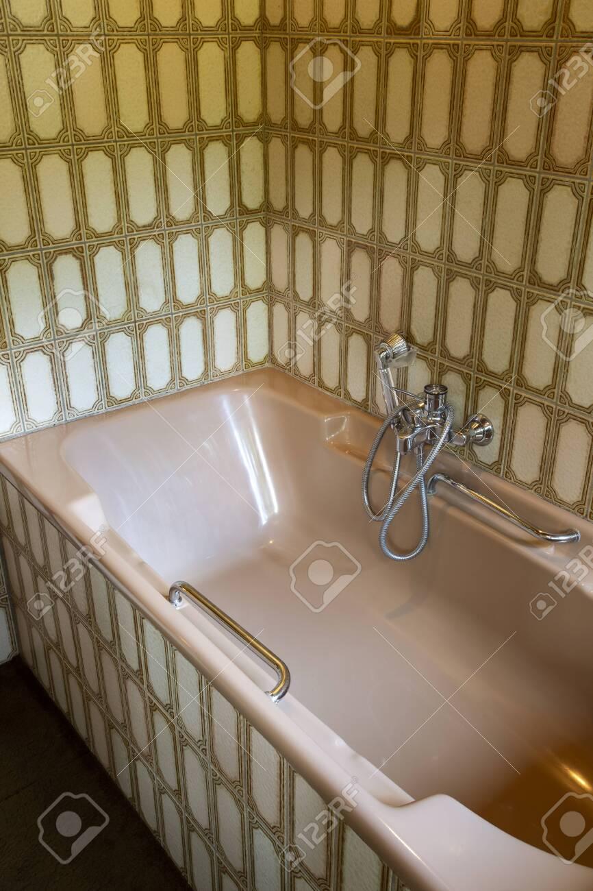 Vintage Bath Tub With Retro Tiles Old Fashioned