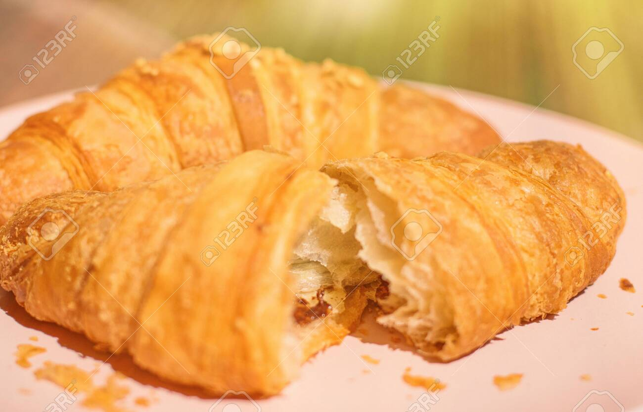 French Chocolate Croissant In Sunny Provence Summer Holidays