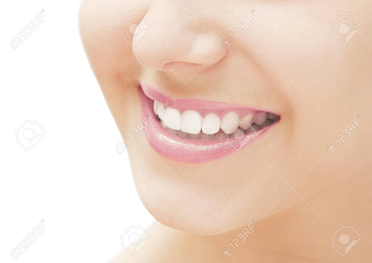 Perfect smile and healthy white natural teeth, happy smiling for dental and beauty ads - 150141480