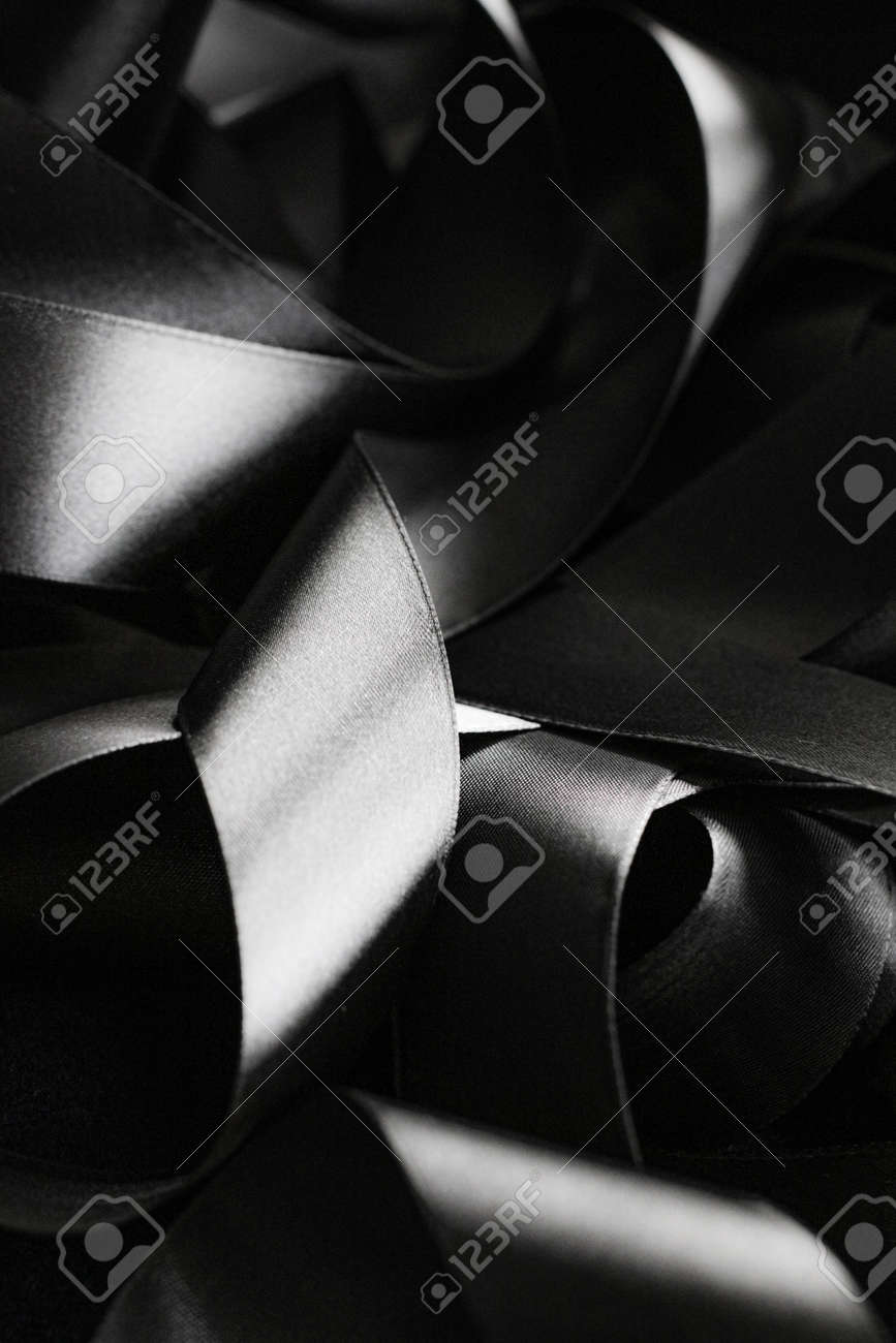 Black and white silk ribbon as background, abstract and luxury brand designs - 156821884