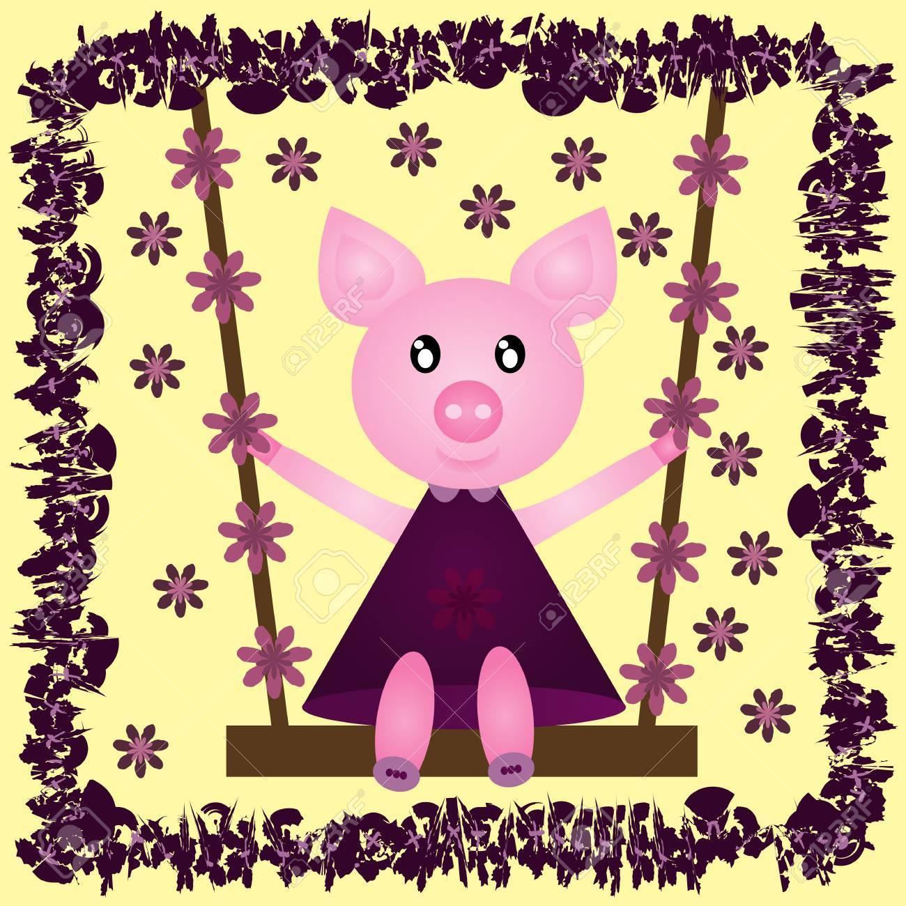 Lustige Fröhliche Schwein In Einem Kleid Auf Einer Schaukel. Blume ...