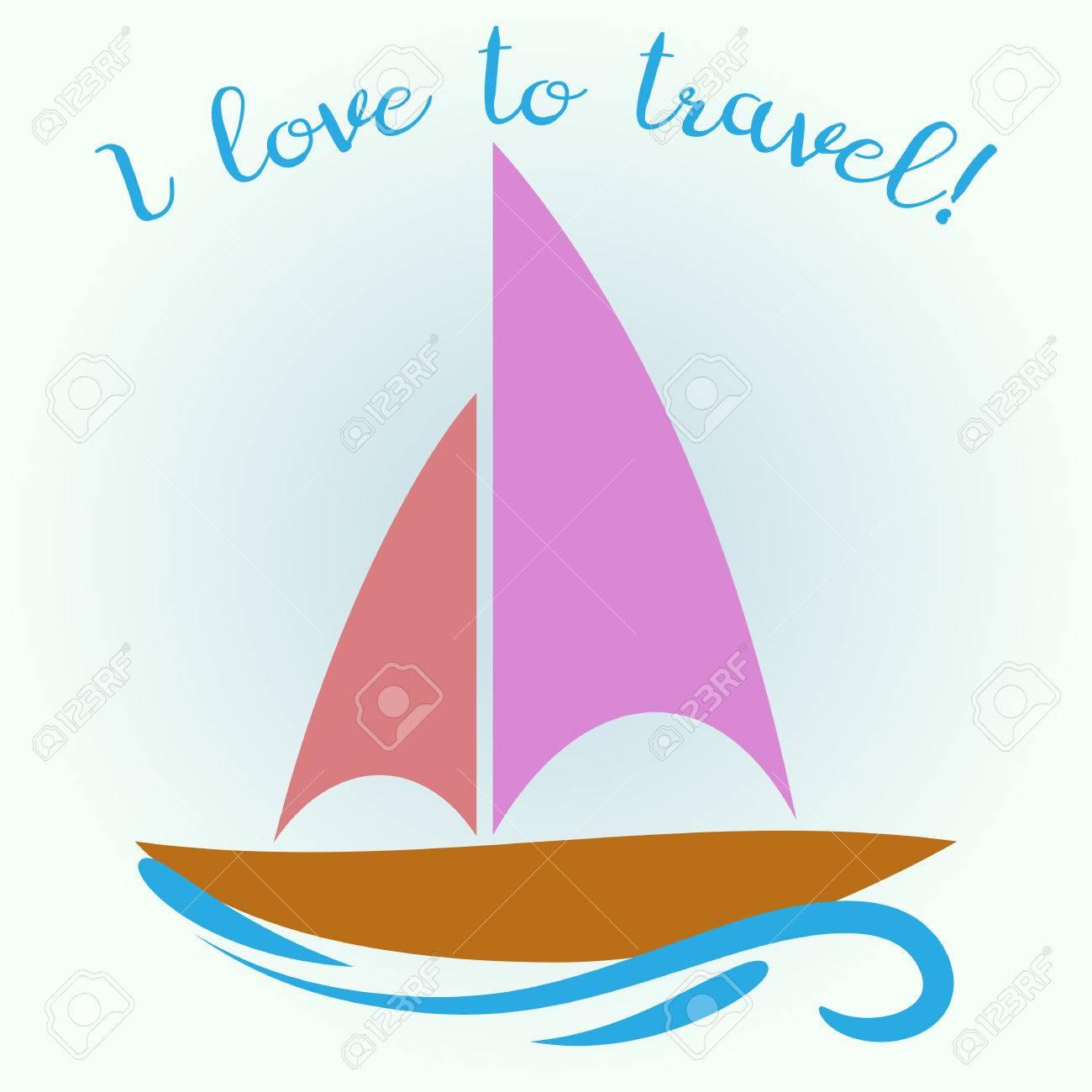 Caricatura De Un Barco De Vela En La Ola Inscripción Me Encanta