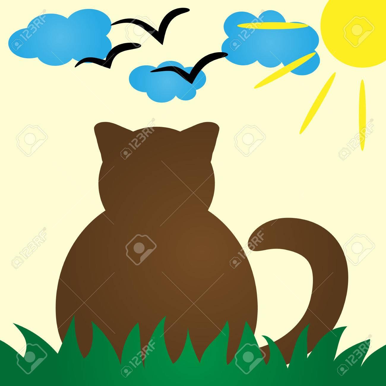 Silueta Del Gato De Visión Trasera Gato En Paz Descansa En La