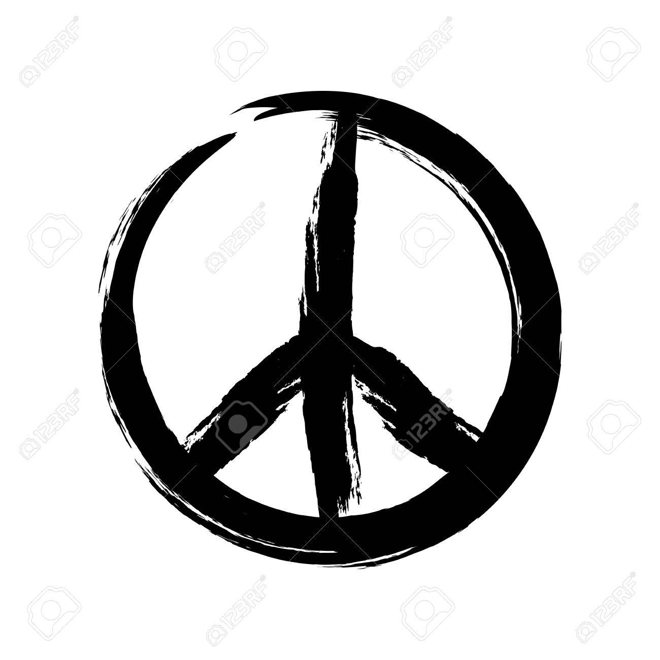 sign pacifist peace symbol drawn by hand with a brush black rh 123rf com peace sign vector free peace sign vector file