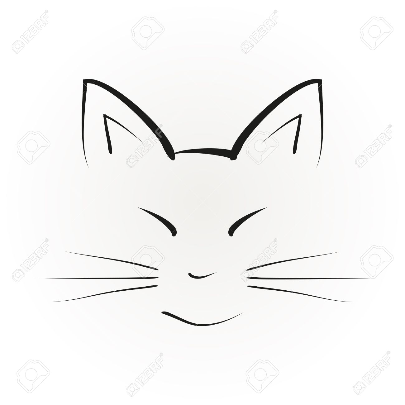 Silhouette Of A Cat Face With Big Ears Painted Black Brush Strokes Abstract Illustration